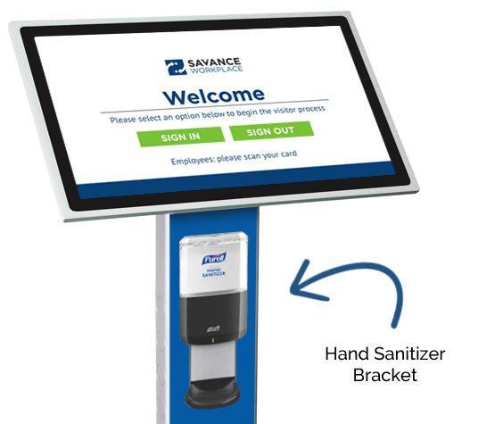 COVID-19 Protection: Hand Sanitizer Bracket for Visitor Check-In Kiosk