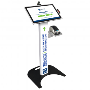 Podium Kiosk with Camera, Label Printer, and Barcode Reader